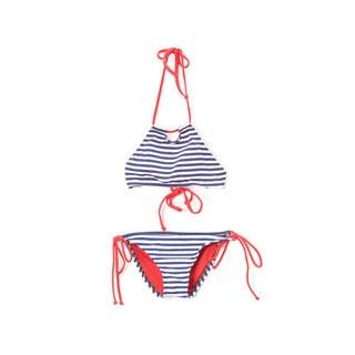 Famous Maker Girl's Navy Stripe Halter Hi-Neck Keyhole Top and Bikini Bottom