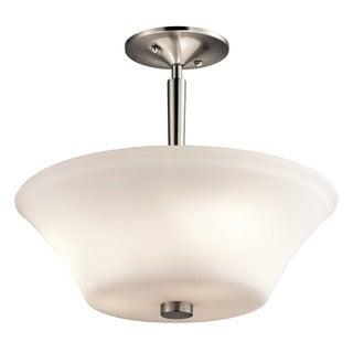 Kichler Lighting Aubrey Collection 3-light Brushed Nickel LED Semi Flush Mount/Pendant