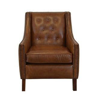 Woburn Genuine Top Grain Leather Tufted And Nailhead Trimmed Armchair