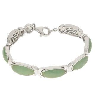 """Gems For You 7.5"""" Sterling Silver Oval Jadite Bracelet"""