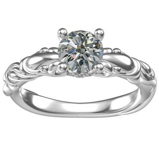 White Sterling Silver Cubic Zirconia Classic Engagement Ring