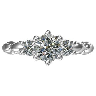 Sterling Silver 1-carat Center and 2, 0.36-carat Side Cubic Zirconia Engagement Ring