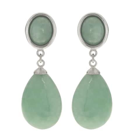 Gems For You Sterling Silver Jade Oval Drop Earrings