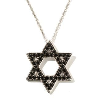 Sterling Silver Black Spinel Round Star of David Pendant Necklace