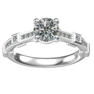Sterling Silver 1-carat Center and 16, 0.28-carat Side Cubic Zirconia Engagement Ring