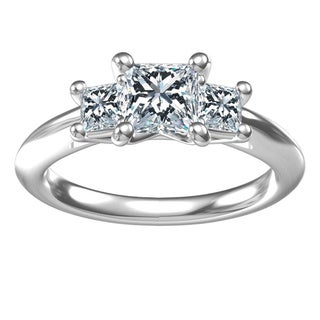 Sterling Silver 1-carat Center and 2, 0.46-carat Side Cubic Zirconia Engagement Ring