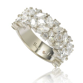 Suzy Levian Sterling Silver Multi-Cut Cubic Zirconia Floral 3/4 Eternity Ring