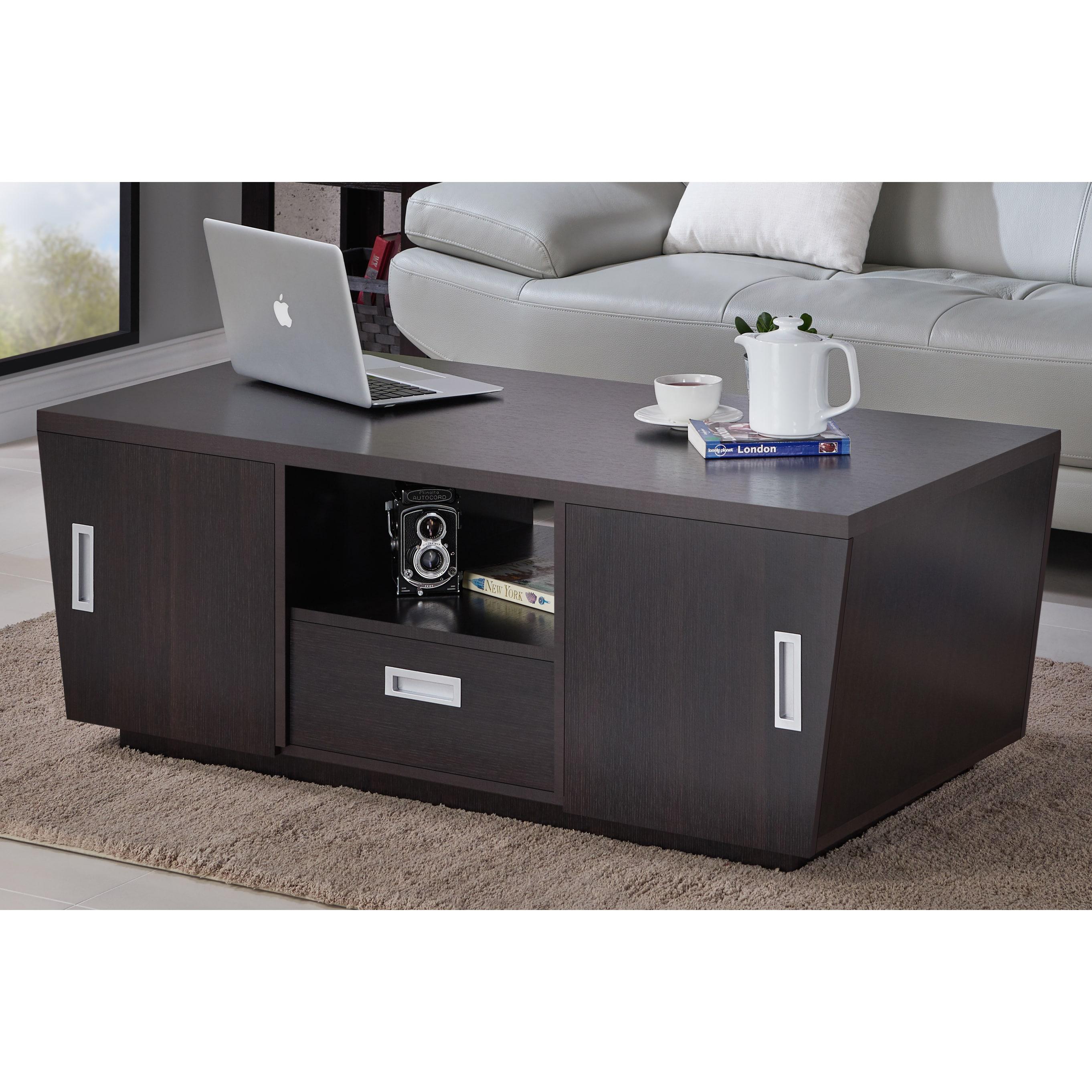 Furniture Of America Kore Modern Espresso Multi Storage Coffee Table