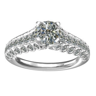 Sterling Silver 1-carat Center and 54, 0.85-carat Side Cubic Zirconia Engagement Ring