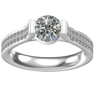 Classic White Sterling Silver Cubic Zirconia Engagement Ring