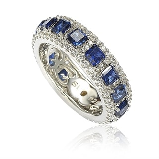 Suzy Levian Sterling Silver Sapphire and Diamond Modern Eternity Band - Blue (Option: 5)