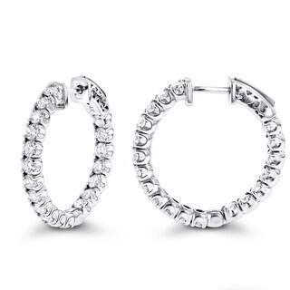 Luxurman Inside Out Classic Diamond Hoop Earrings 2.75ct 14K Gold (G-H; VS1-VS2)