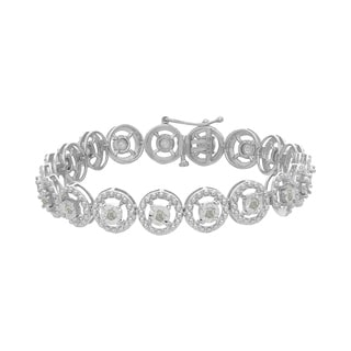 Sterling Silver 1.00ct TDW Round Cut Diamond Circle Link Bracelet