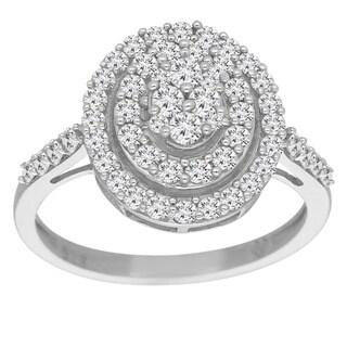 Sterling Silver 1ct TDW Round-Cut Diamond Halo Ring (I-J, I3)