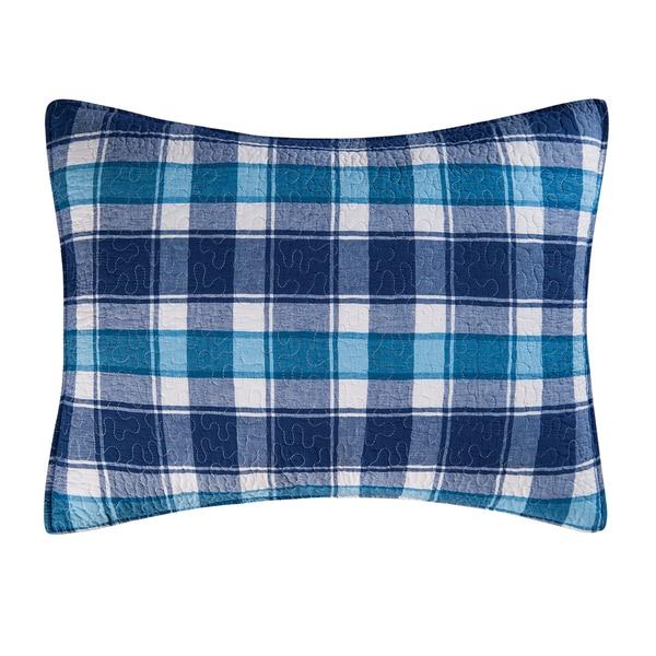 Brice Blue Plaid Cotton Standard Sham