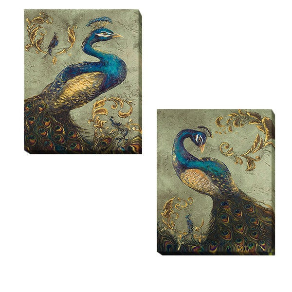 Tiffany Hakimpour 'Peacock on Sage I and II 2-piece Canvas Giclee Art Set. Opens flyout.