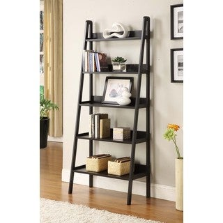 Contemporary Black Leaning Ladder Shelf Bookcase