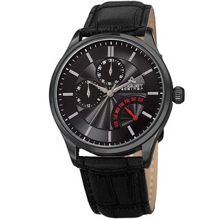 August Steiner Mens Multifunction Dual Time Retrograde Black Leather Strap Watch