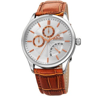 August Steiner Mens Multifunction Dual Time Retrograde Silver-Tone/ Brown Leather Strap Watch