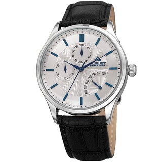 August Steiner Mens Multifunction Dual Time Retrograde Silver-Tone/ Blue Leather Strap Watch