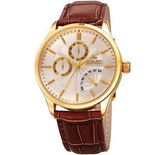 August Steiner Mens Multifunction Dual Time Retrograde Gold-Tone/ Brown Leather Strap Watch
