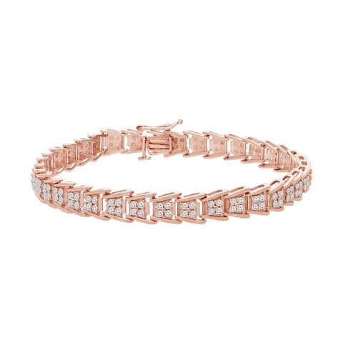 Sterling Silver 2.00 ct. TDW Rose-Cut Diamond Fan-Shaped Tennis Bracelet (I-J, I3-Promo)