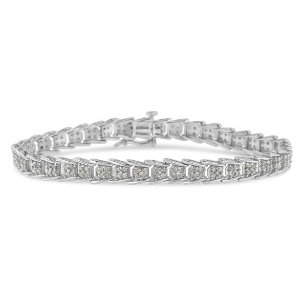 18k Rose Gold Sterling Silver White Sapphire Baguette Bar Tennis Bracelet Bridal