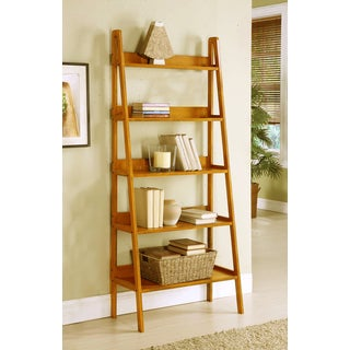 Contemporary Oak Leaning Ladder Shelf Bookcase