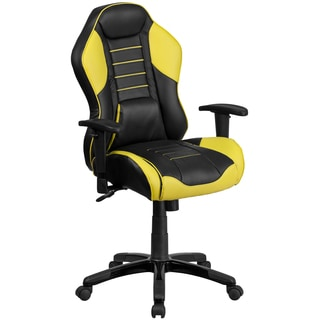 Nampa High Back Black Leatherette with Yellow Inserts Executive Adjustable Swivel Office Chair with Headrest