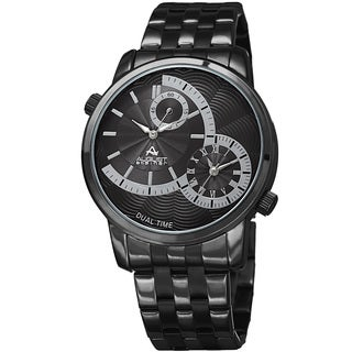 August Steiner Men's Dual Time Easy-to-Read Black Stainless Steel Bracelet Watch