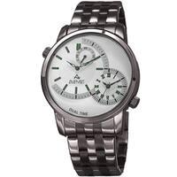 August Steiner Men's Dual Time Easy-to-Read Gun Stainless Steel Bracelet Watch