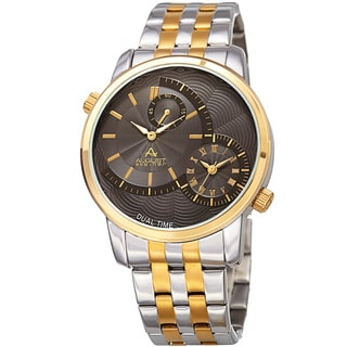 August Steiner Men's Dual Time Easy-to-Read Two-Tone Stainless Steel Bracelet Watch