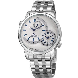 August Steiner Men's Dual Time Easy-to-Read Silver-Tone/ Blue Stainless Steel Bracelet Watch