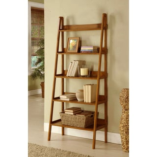 Contemporary Mahogany Leaning Ladder Shelf Bookcase
