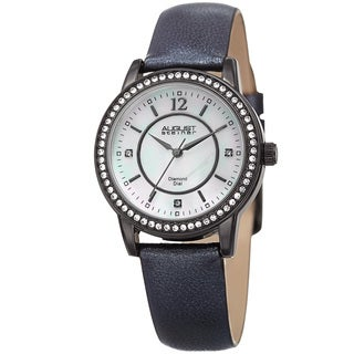 August Steiner Women's Diamond Crystal Black Leather Bracelet Watch with FREE Bangle