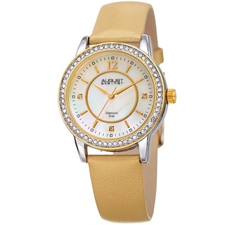August Steiner Women's Diamond Crystal Gold-Tone Leather Bracelet Watch