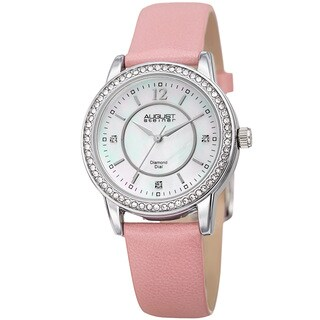 August Steiner Women's Diamond Crystal Silver-Tone/ Pink Leather Bracelet Watch
