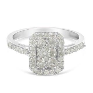 Sterling Silver 1ct TDW Round-Cut Diamond Emerald Framed Ring (I-J, I3)