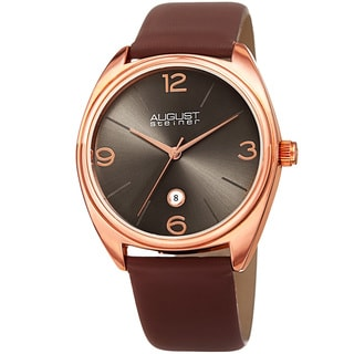 August Steiner Men's Classic Date Leather Rose-Tone/ Brown Strap Watch