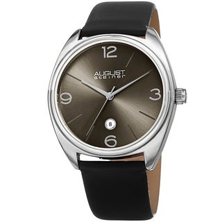 August Steiner Men's Classic Date Leather Silver-Tone/ Black Strap Watch