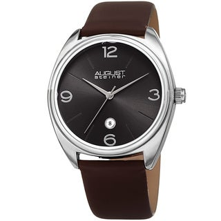 August Steiner Men's Classic Date Leather Silver-Tone/ Brown Strap Watch