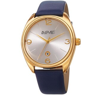 August Steiner Men's Classic Date Leather Gold-Tone/ Blue Strap Watch