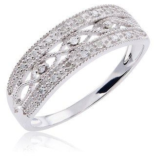 10k White Gold 1/10ct TDW Diamond Vintage Band
