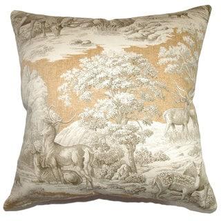 Feramin 22-inch Safari Back/ Toile Down Feather Throw Pillow