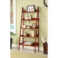 Contemporary Cherry Leaning Ladder Shelf Bookcase