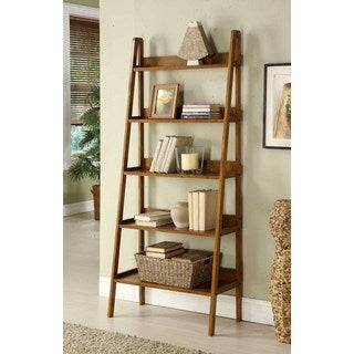 Contemporary Walnut Leaning Ladder Shelf Bookcase