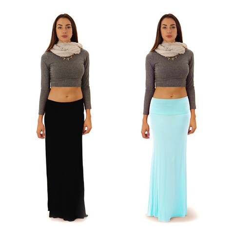 Dinamit Women's or Junior Rayon and Spandex Maxi Skirt (Pack of 2)