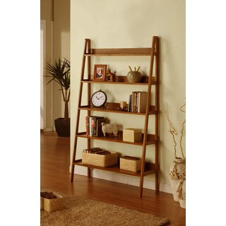 Contemporary Mahogany Leaning Ladder 5 Tier Bookcase