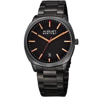 August Steiner Men's Classic Easy-to-Read Stainless Steel Black Bracelet Watch