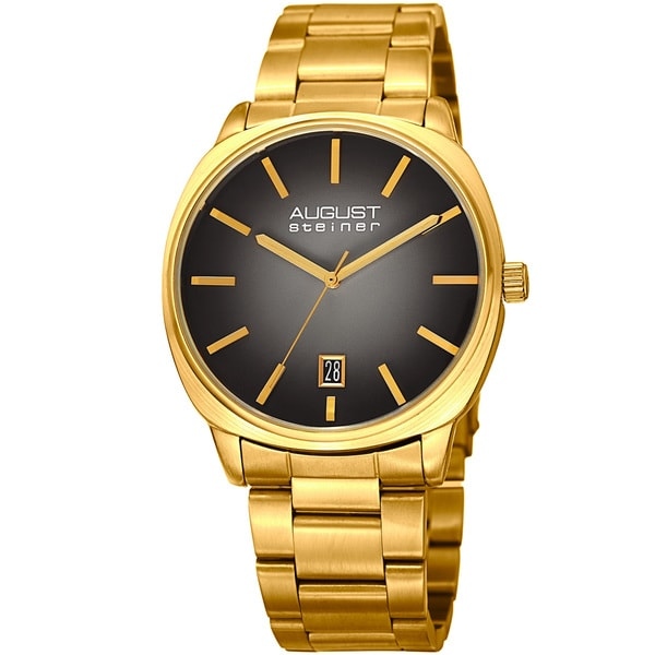 August Steiner Men's Classic Easy-to-Read Stainless Steel Gold-Tone/ Black Bracelet Watch
